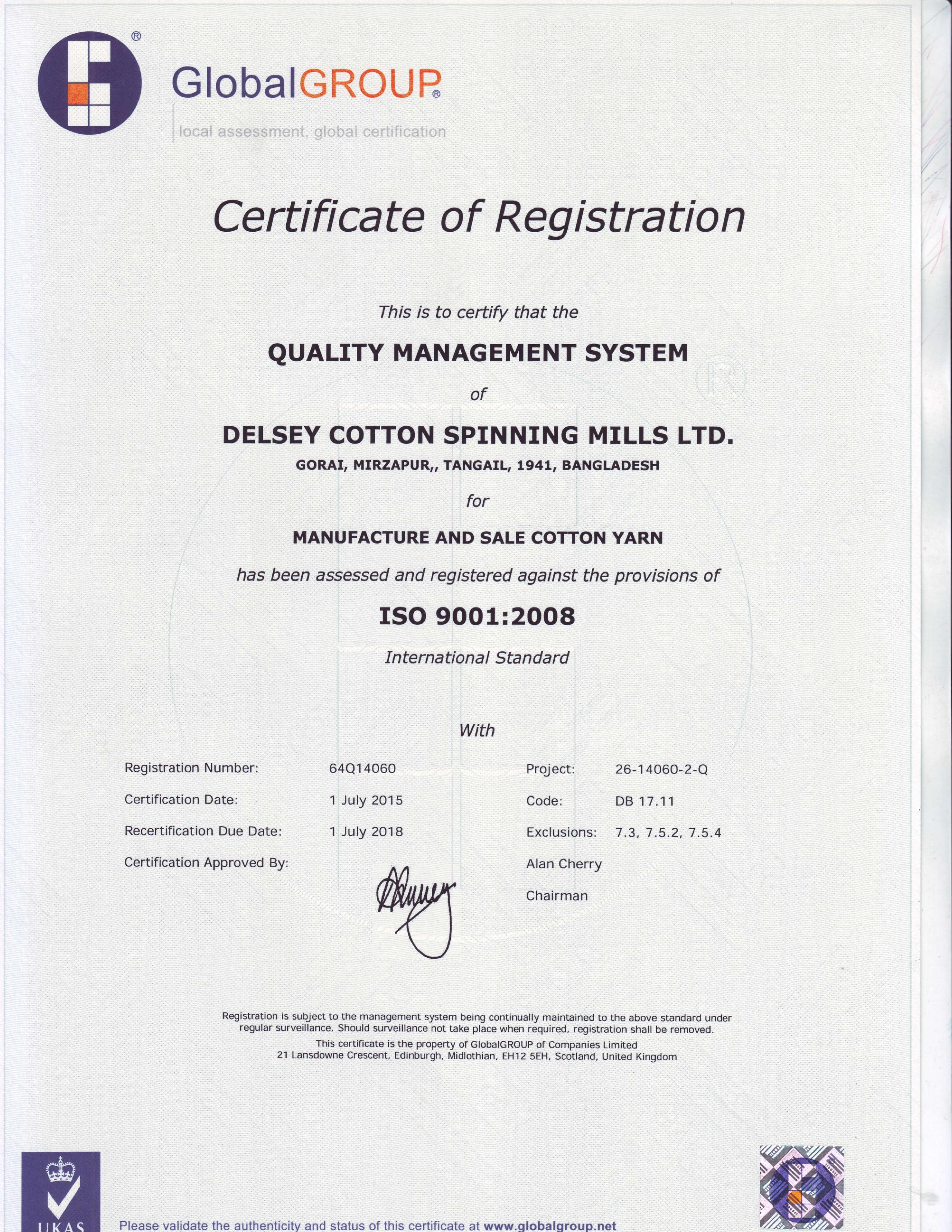 Iso certificate delsey cotton dpinning mills ltd iso certificate of delsey cotton spinning mills ltd 1betcityfo Gallery
